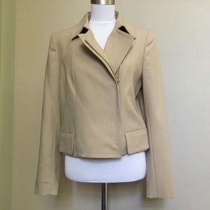 NWT $198 ANN TAYLOR tan stretch Moto Jacket Coat 6